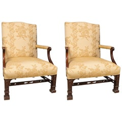 Pair of Chippendale Style Library Chairs