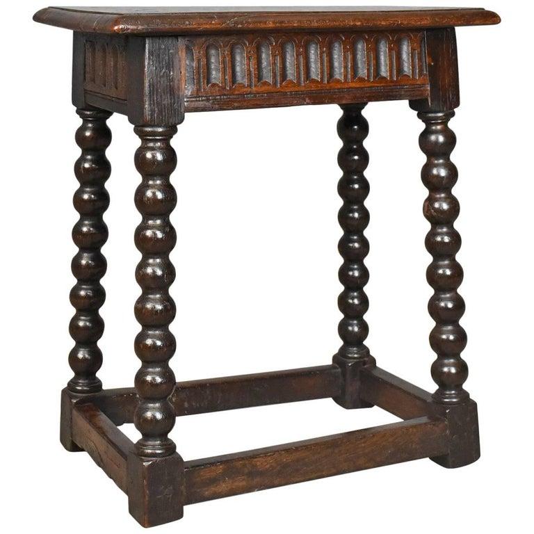 Antique Joint Stool English Late Georgian Oak Seat, circa 1800