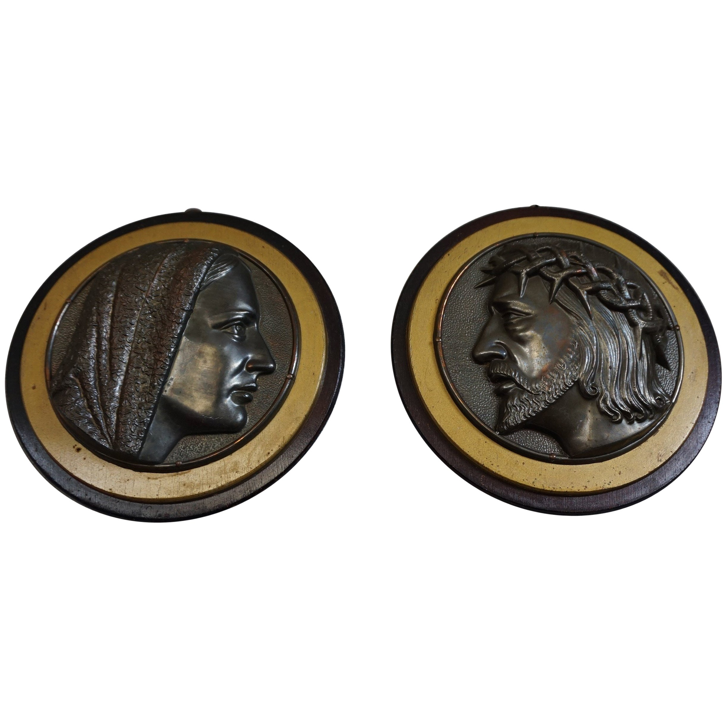Pair of Early 1900s Brass & Wood Christ & Maria Circular Wall Plaque Sculptures