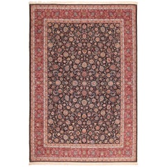 Silk and Wool Fine Floral Vintage Khorassan Persian Rug