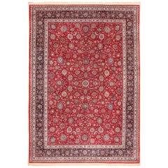 Large Silk and Wool Vintage Persian Khorassan Rug