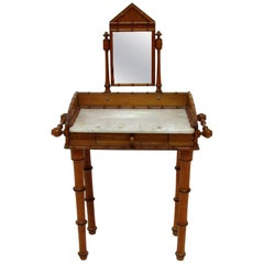 19th Century English Bamboo Style Miniature Vanity Table