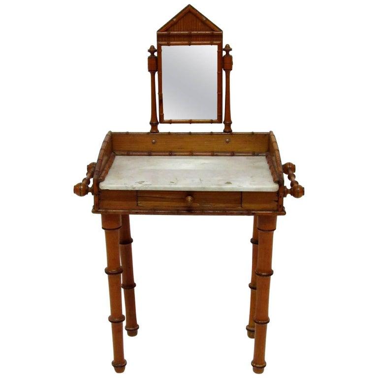 19th Century English Bamboo Style Miniature Vanity Table