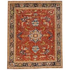 21st Century Red Persian Heriz Style Rug