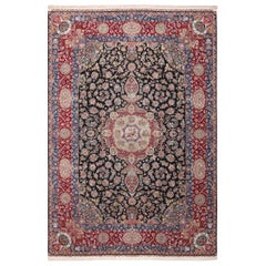 Silk and Wool Vintage Tabriz Persian Rug