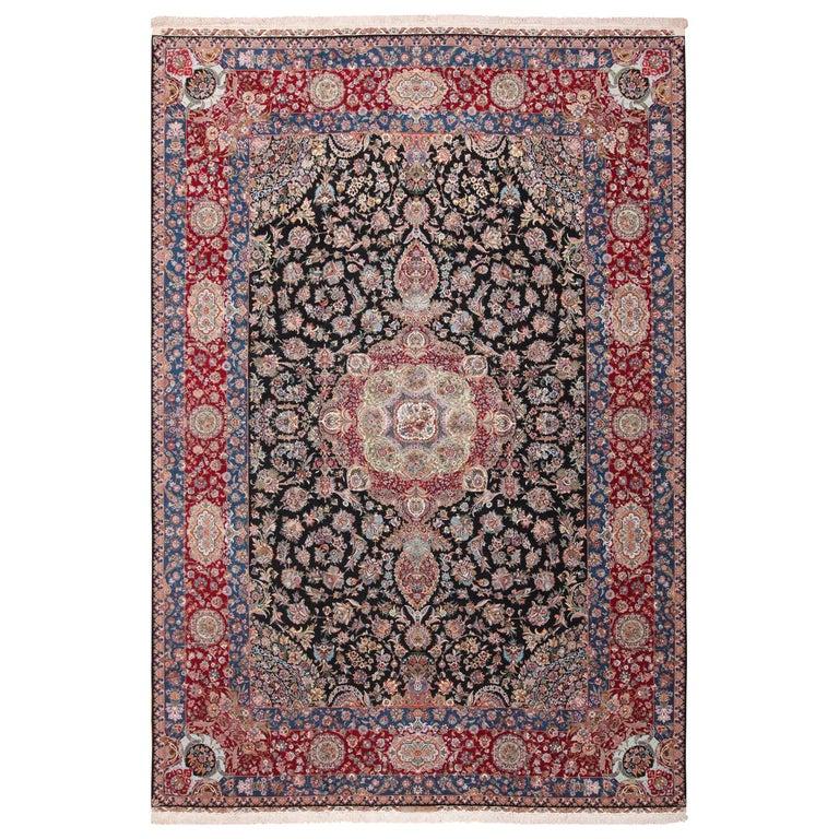 Silk and Wool Vintage Tabriz Persian Rug
