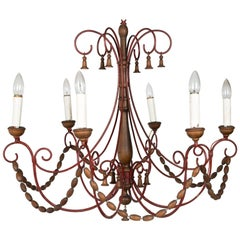 1960s Italian Wood Beaded Chandelier with Bells