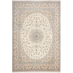 Floral Large Silk and Wool Vintage Nain Persian Rug