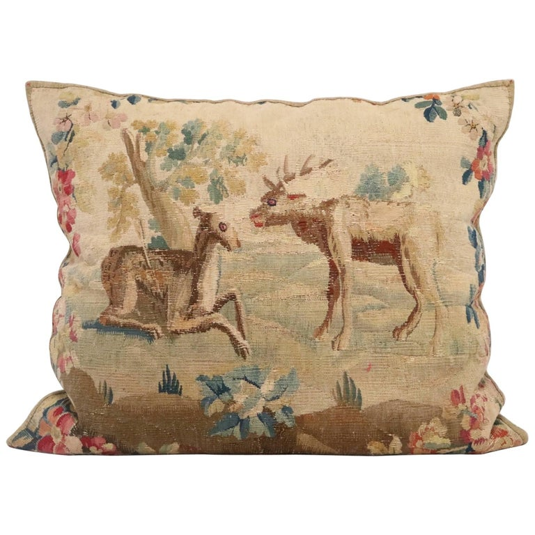 Flemish 17th Century Tapestry Pillow in Cotton and Silk