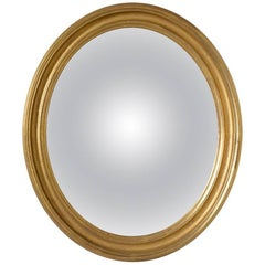 Small Gilt Oval Frame with Handk Drawn Deep Convex Mirror