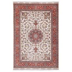 Large Silk and Wool Vintage Tabriz Persian Rug
