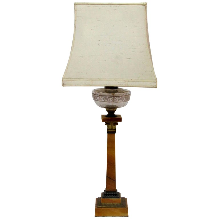 19th Century Table Lamp of Marble and Brass