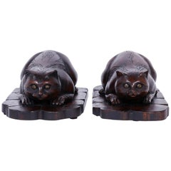 Two Carved Wood Cat Sculptures
