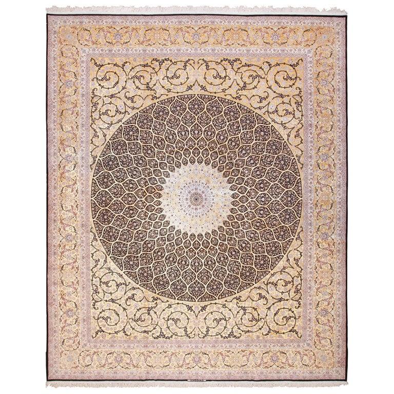 Large Geometric Silk and Wool Vintage Isfahan Persian Rug