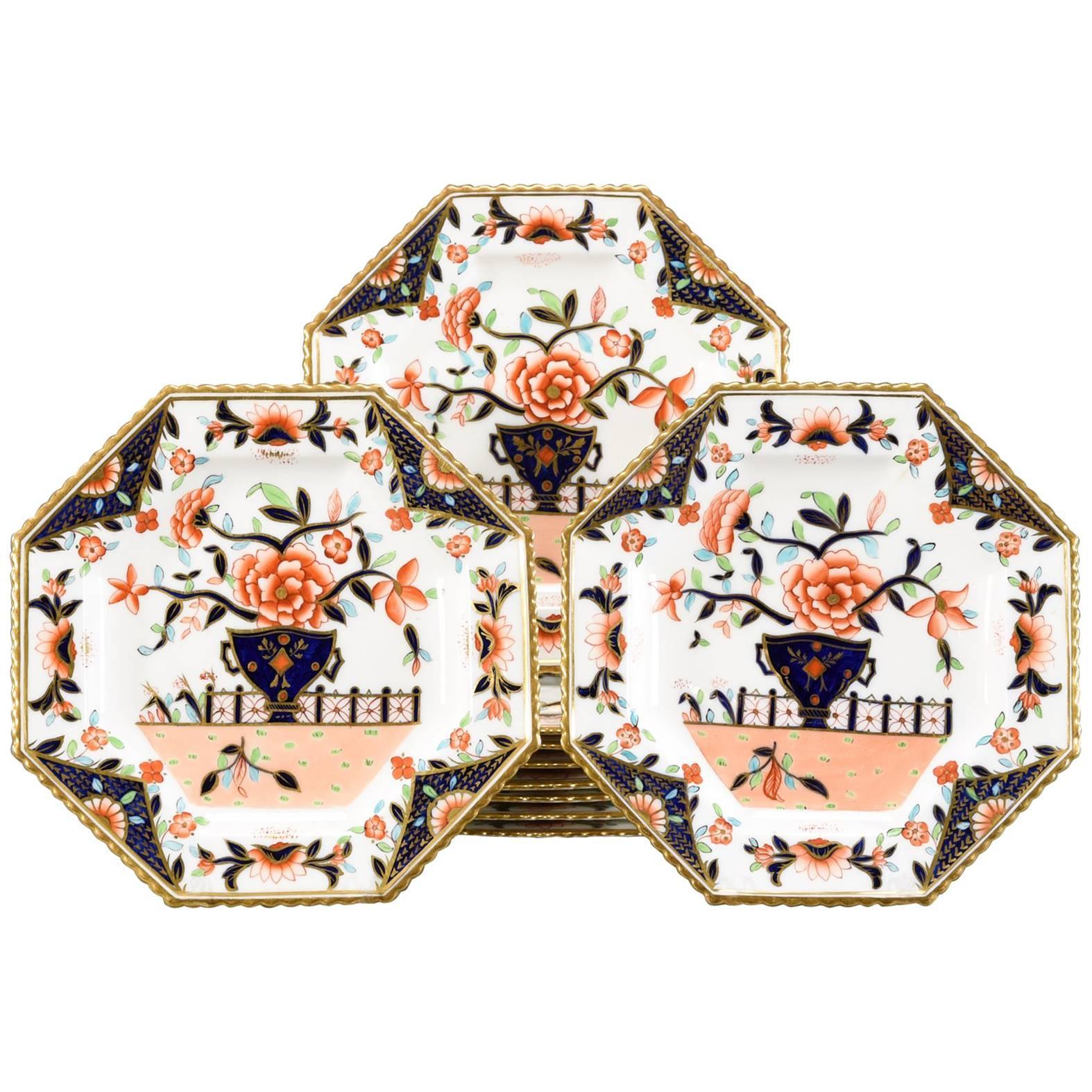 Ten Coalport Octagonal Imari Dessert Plates Aesthetic Movement Dated 1891