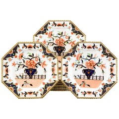 Ten Coalport Octagonal Imari Dessert Plates Aesthetic Movement Dated 1891