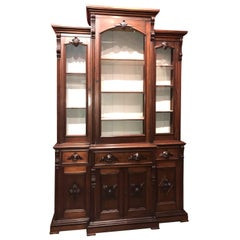 Renaissance Revival Victorian Glazed and Carved Walnut Cabinet or Bookcase