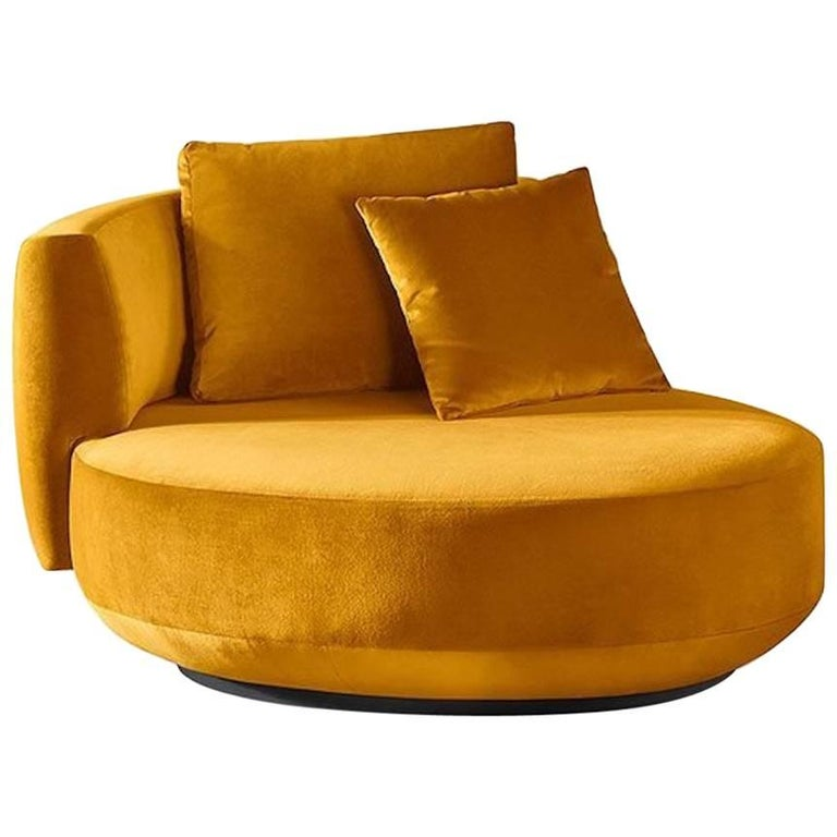 Gallotti and Radice Audrey Revolving Armchair in Two Sizes in Fabric or Leather