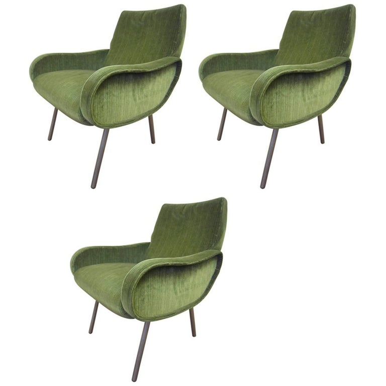 One, Two or Three Original Midcentury Marco Zanuso Small Chairs in Green Velour