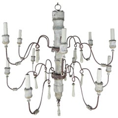 Twelve-Arm Swedish Painted Chandelier, circa 1930