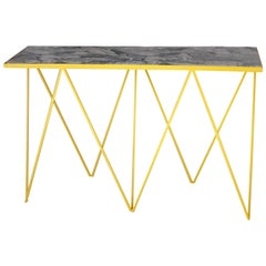 Limited Edition Bright Yellow Giraffe Console Table with Granite Top