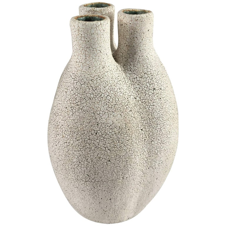 Contemporary Ceramic Tri-Neck Vase No. 195 by Yumiko Kuga