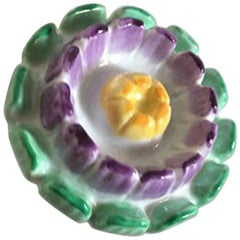 Royal Copenhagen Green / Purple / Yellow Porcelain Flower