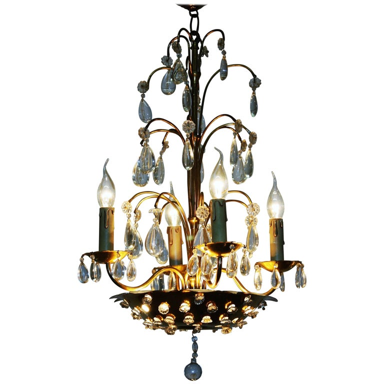 Fine Brass and Crystal Chandelier by Maison Baguès, France, 1940s