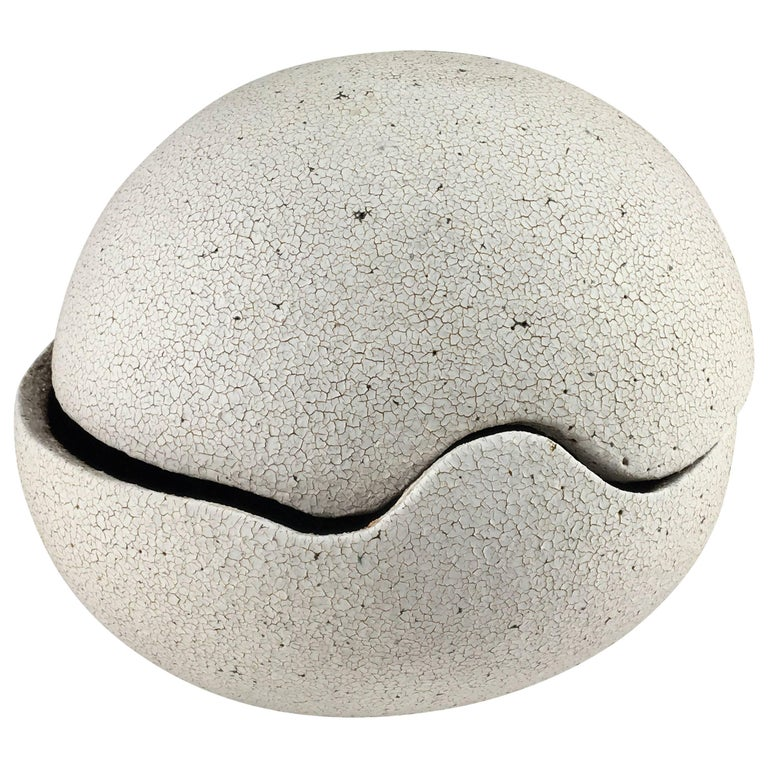 Contemporary Ceramic Orb Covered Vessel No. 196 by Yumiko Kuga For Sale