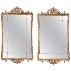 Pair of Sleek, 19th Century, Giltwood Mirrors