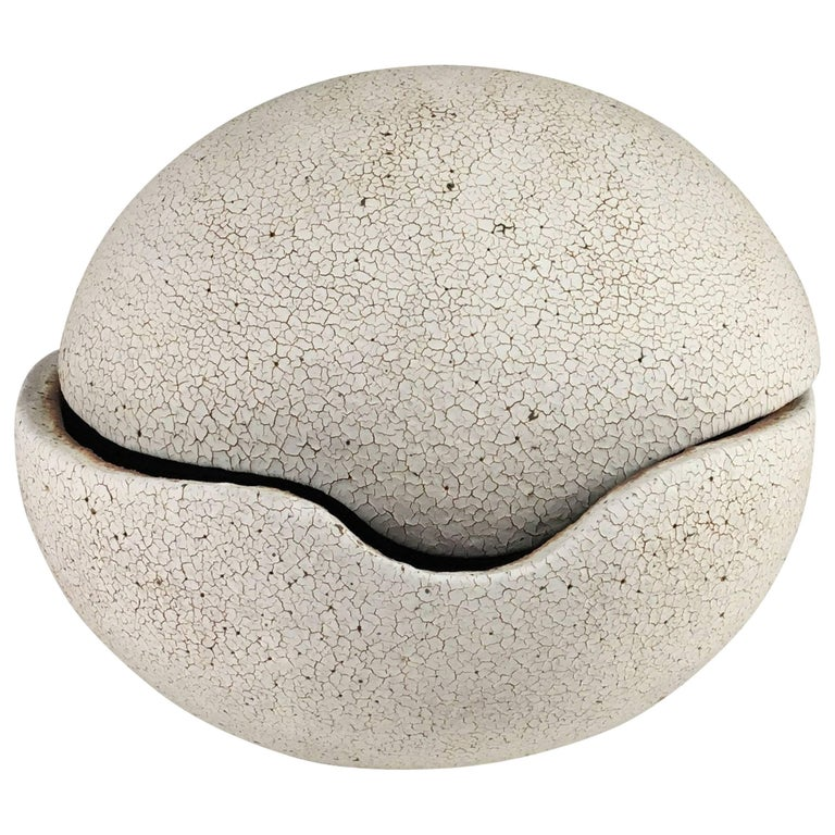 Contemporary Ceramic Orb Covered Vessel No. 197 by Yumiko Kuga
