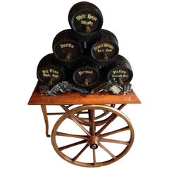 Set of Six Black Liquor Barrels on a Wood Cart, 19th Century
