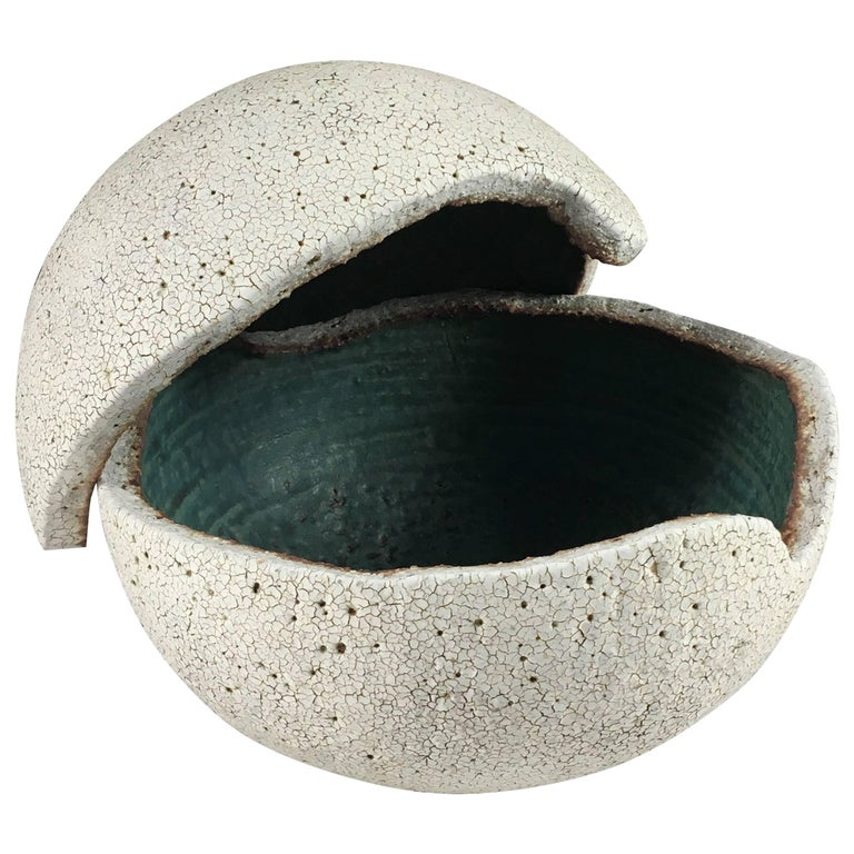 Contemporary Ceramic Orb Covered Vessel No. 198 by Yumiko Kuga For Sale
