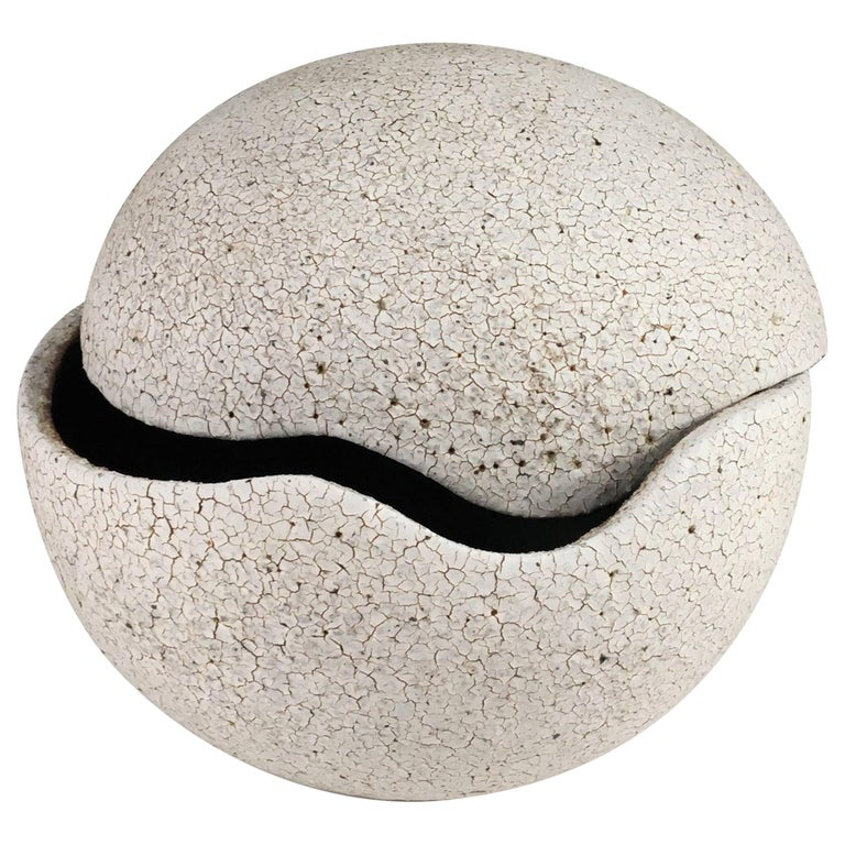 Contemporary Ceramic Orb Covered Vessel No. 199 by Yumiko Kuga For Sale