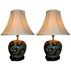 Pair of Ginger Jar Lamps in Black, Pink and White Colors, 20th Century