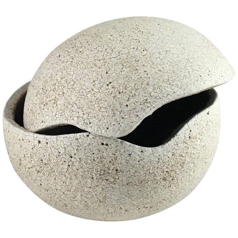 Contemporary Ceramic Orb Covered Vessel No. 200 by Yumiko Kuga