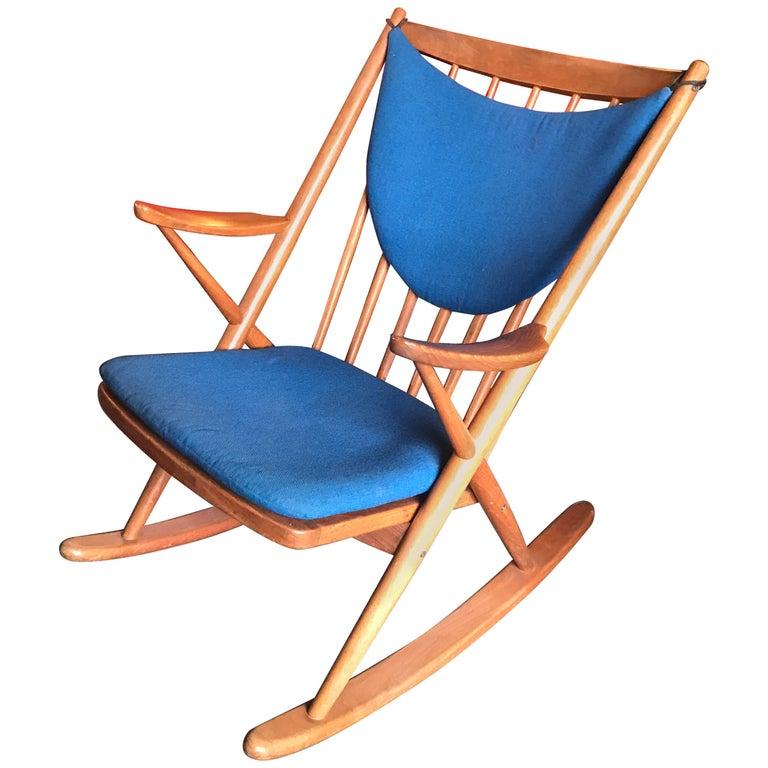 Danish Teak Rocking Chair by Frank Reenskaug for Bramin Møbler Midcentury