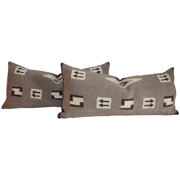 Navajo Indian Weaving Bolster Pillows with Arrows