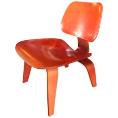 Eames Evans Production LCW Herman Miller Aniline Red 1948 Midcentury