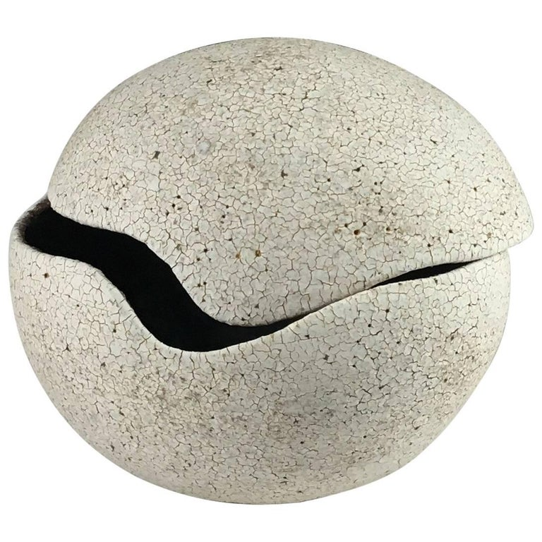 Contemporary Ceramic Orb Covered Vessel No. 204 by Yumiko Kuga For Sale