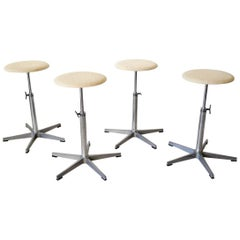 Set of Four Swivel Task Stools by Martela Oy of Finland, circa 1965