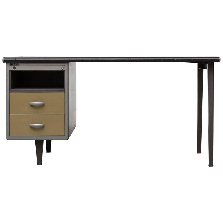 Gispen Industrial Metal Desk with Yellow Drawers