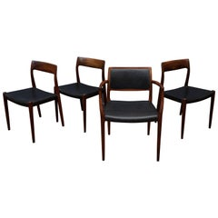 Eight Niels O. Møller Model 80 and 77 Rosewood Dining Chairs