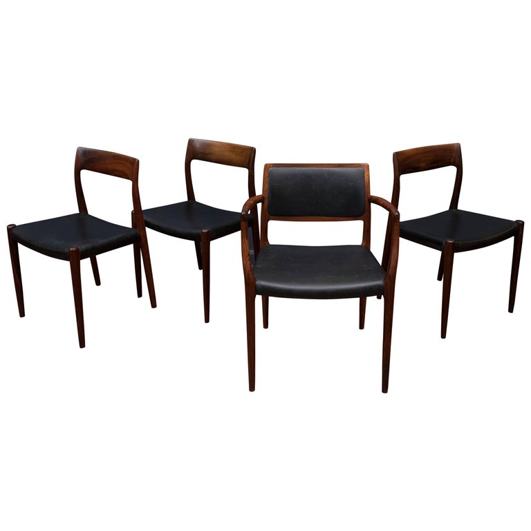 Eight Niels O. Møller Model 80 and 77 Rosewood Dining Chairs For Sale