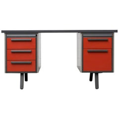 Midcentury Industrial Metal Desk with Red Drawers by Strafor