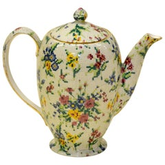 """1930s Royal Winton Coffee Pot """"Queen Anne"""" Needlepoint Pattern Made in England"""