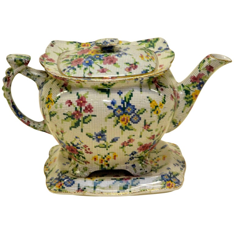 1930s Royal Winton Teapot Queen Anne Needlepoint Pattern Made in England