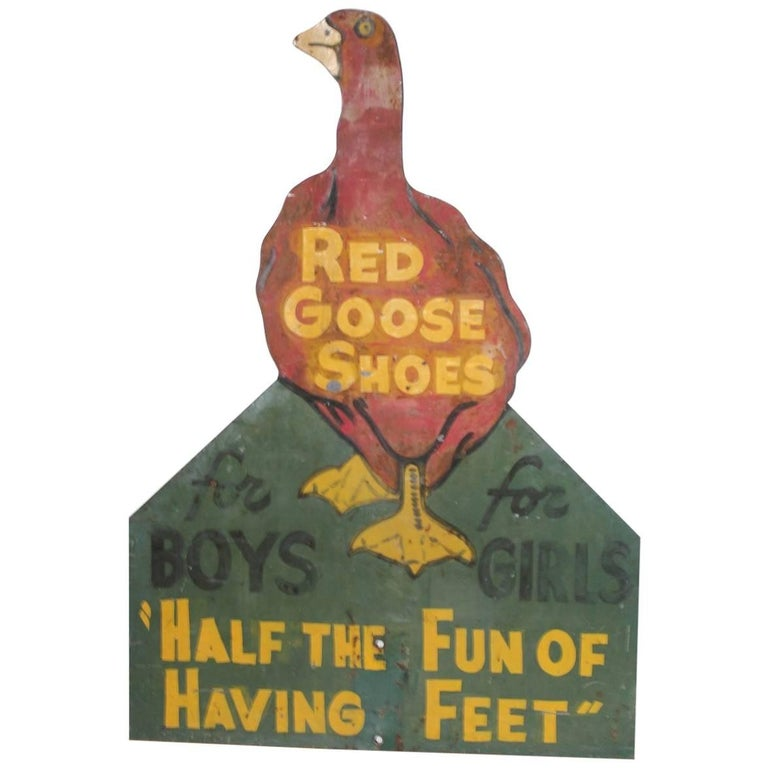 "1930s Hand-Painted Double-Sided Sign ""Red Goose Shoes"""