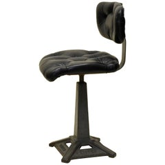 1940s Customized Polished Metal Industrial Singer Factory Work Chair