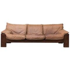 Leolux Three-Seat Buffalo Leather and Wenge Sofa
